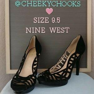 Nine West suede pumps heels platform peep toe